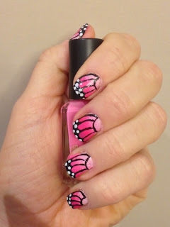 Pink Butterfly Ombre Nail Art Tutorial