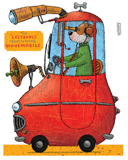 Illustration of dog in car that has been modified to seek out dog treats
