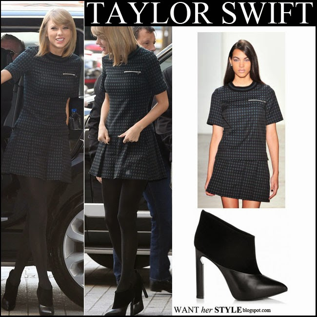 ... what she wore · No comments · Taylor Swift in matching check print top  and mini skirt with black ankle booties want her 8f36338c2e1