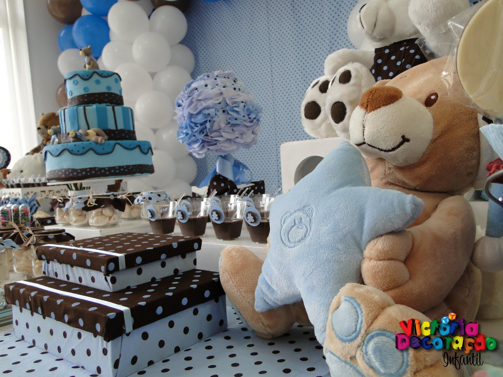 decoracao festa urso azul e marrom:Victoria Decoração Infantil : Ursinhos – Azul & Marrom