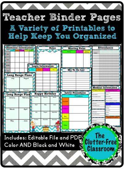 teacher binder supplements  teacher organization tool