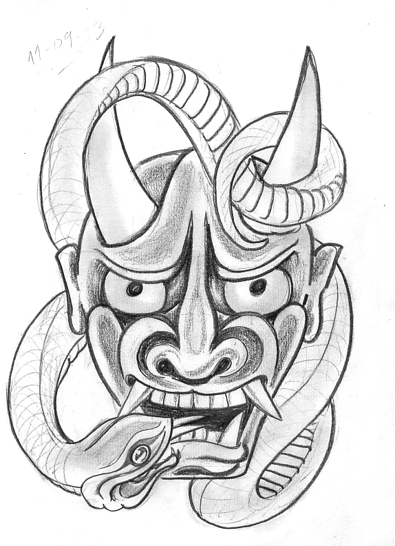 Traditional hannya mask drawing
