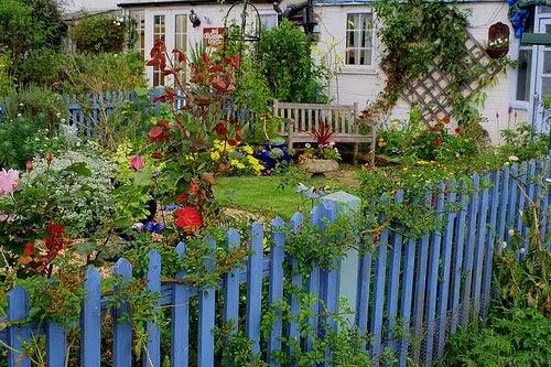 cerca jardim cachorro : cerca jardim cachorro:Mundo da Dani: Lindo jardim e cerca azul hortência