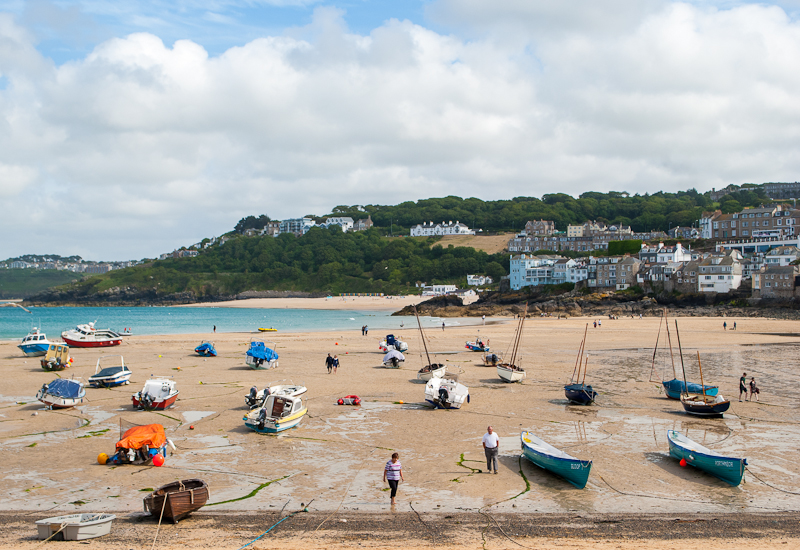 Image of people and their boats in st ives west cornwall, england, UK