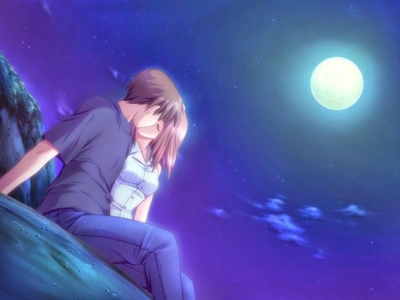 Fantasy couple at night kissing free hd wide wallpaper