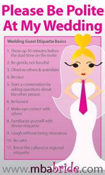 10 simple etiquette rules for wedding guest the mba bride 10 simple etiquette rules for wedding guest junglespirit Gallery