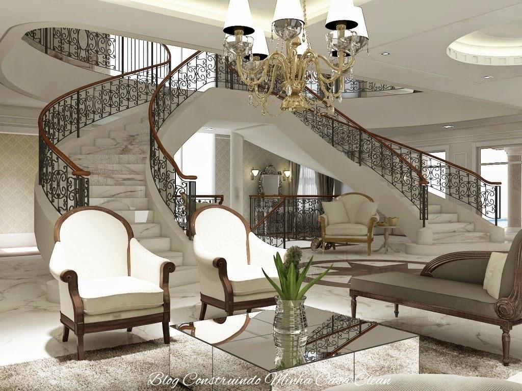 Construindo minha casa clean salas modernas de estar e for Salas de casas modernas