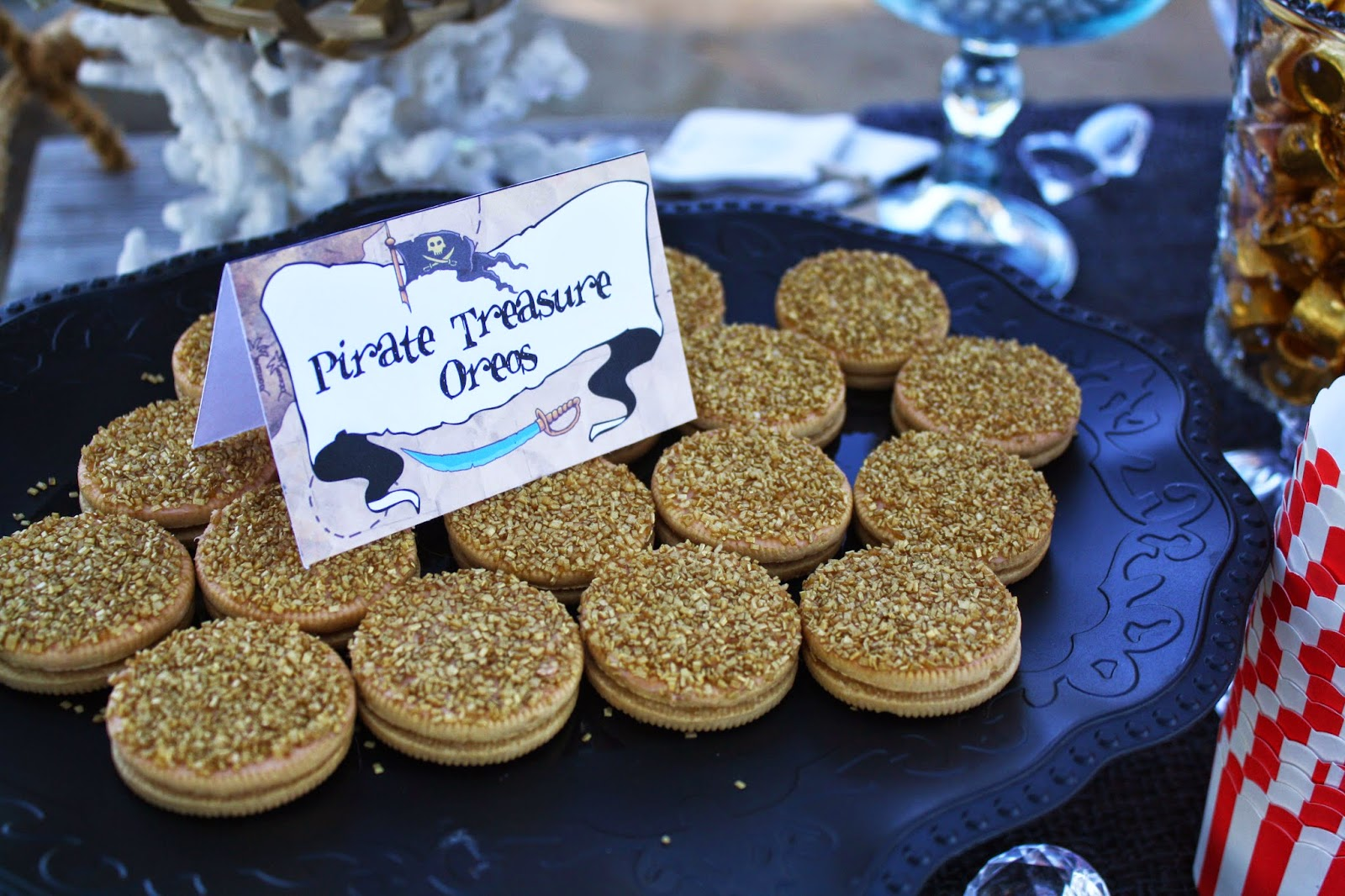 Golden coin oreos pirate party