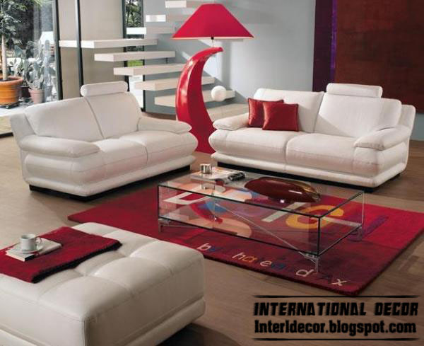Modern living rooms red white design 2013 for Home decor sofa designs