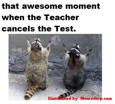 Teacher Cancels the test meme
