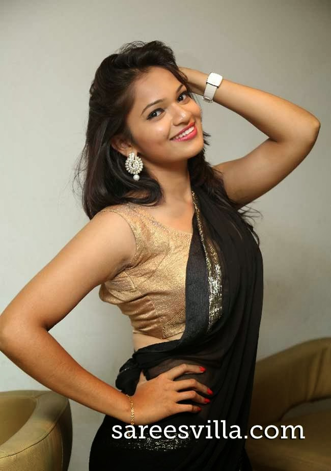 Actress Aswi in Black Saree