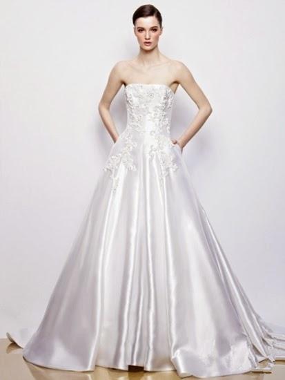 ... schlichte und moderne geometrische Formen und Schwanz-Hochzeitskleid