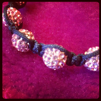 Pink Shamballa bracelet close up