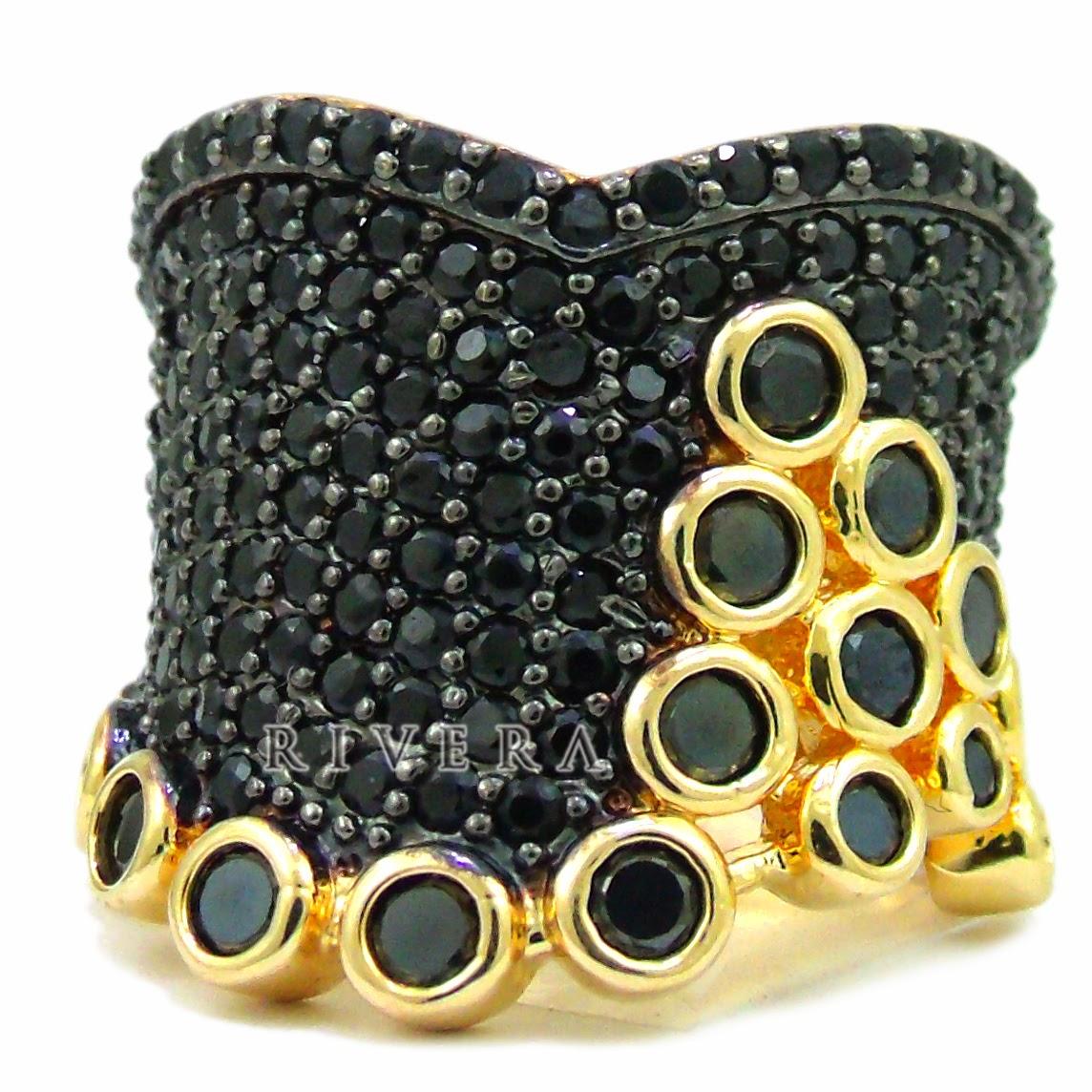 anel moda cravejado zirconia negra rodium