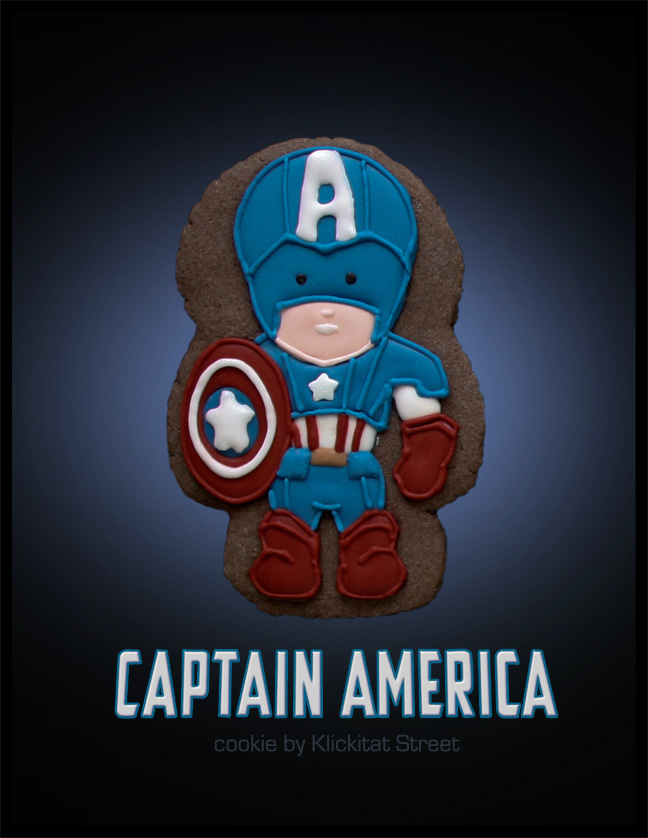 decorated sugar cookie of Marvel Avengers movie character Captain America