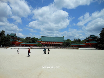 The main hall and other buildings in the courtyard at the Heian Jingu shrine, Kyoto in Japan