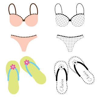 Free 2 SVG and 2 Digi Stamps, summer, flip-flop and bikini