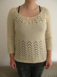 Lochan Sweater knitting pattern by Littletheorem. Quick yoked lace sweater pattern.