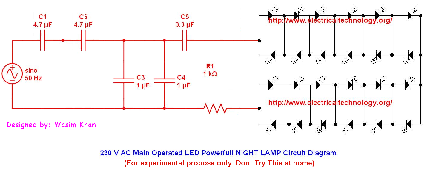 Or 110V 60Hz Main Operated LED Powerful NIGHT LAMP Circuit Diagram