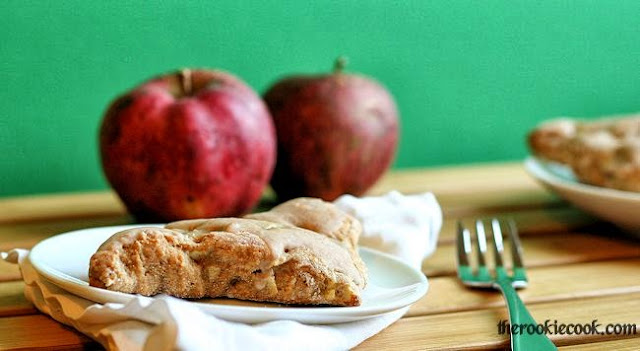 Apple Spiced Scones with Cinnamon Glaze ~ The Rookie Cook    Tasty fall apple scones with a sweet cinnamon glaze - perfect for breakfast!