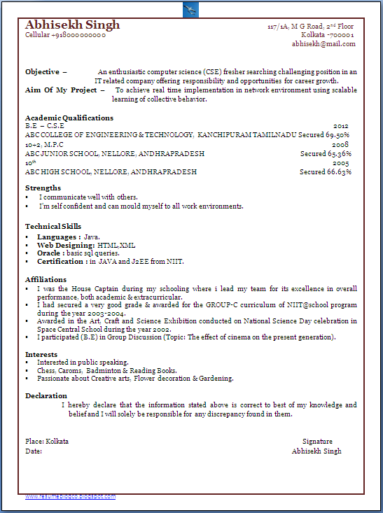 resume blog co  bachelor of computer science engineer  b e  cs  fresher