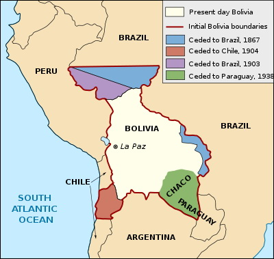 Bolivian territorial losses over time