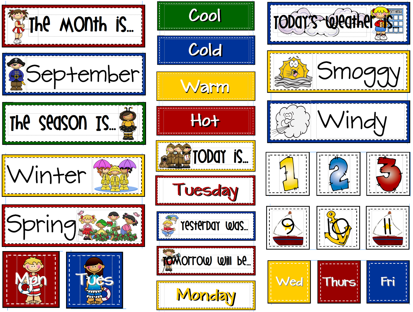 Calendar Board Printables : Sailing through st grade calendar board