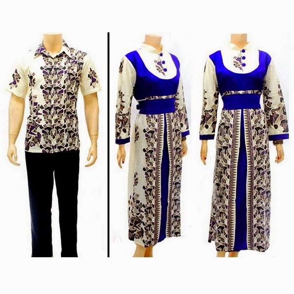 Sg530 Model Baju Batik Gamis Muslim Pasangan Solo 2014