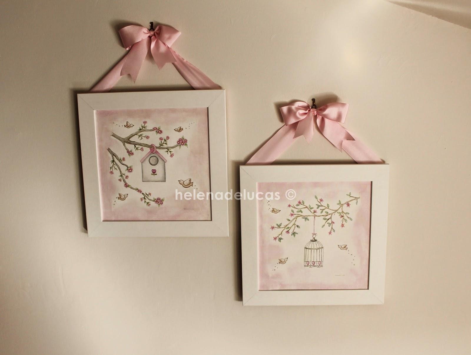 cuadros infantiles rosa y gris