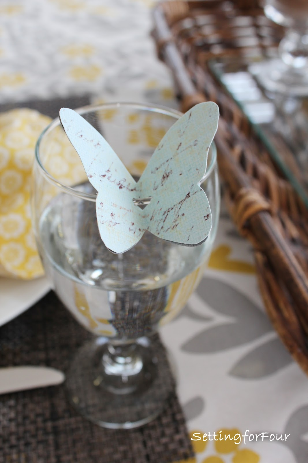 DIY Butterfly Place Cards - Setting for Four
