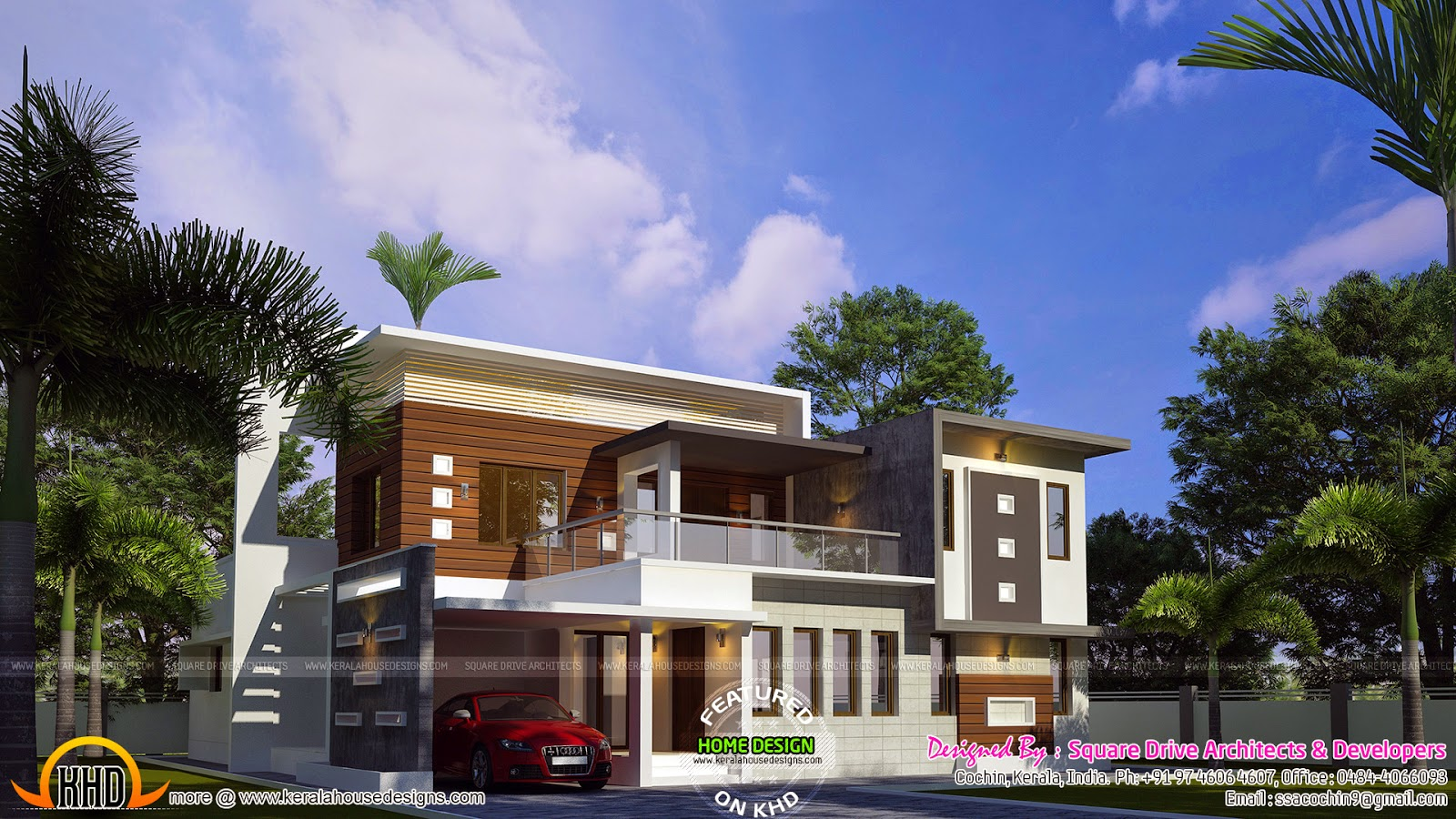 1951 sq ft modern sloped roof home keralahousedesigns for Contemporary villa