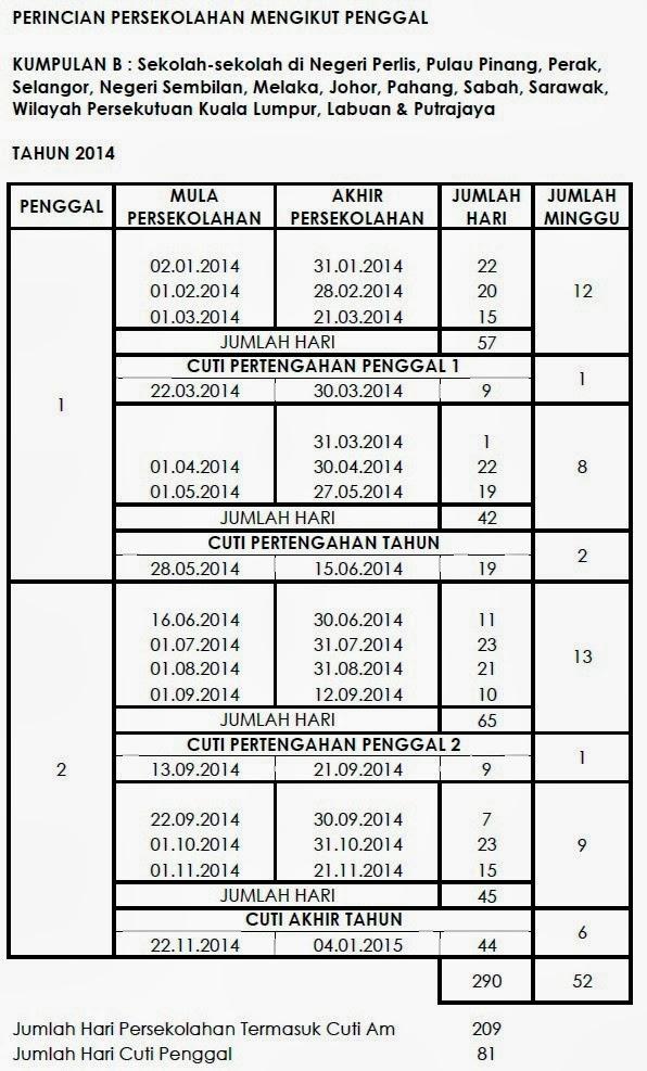 2014 yang rasmi dah keluar kalender cuti sekolah 2014 mengikut takwim