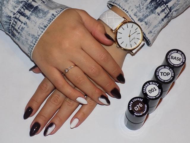 Jesienny manicure hybrydowy- Semilac 076 Black Coffee