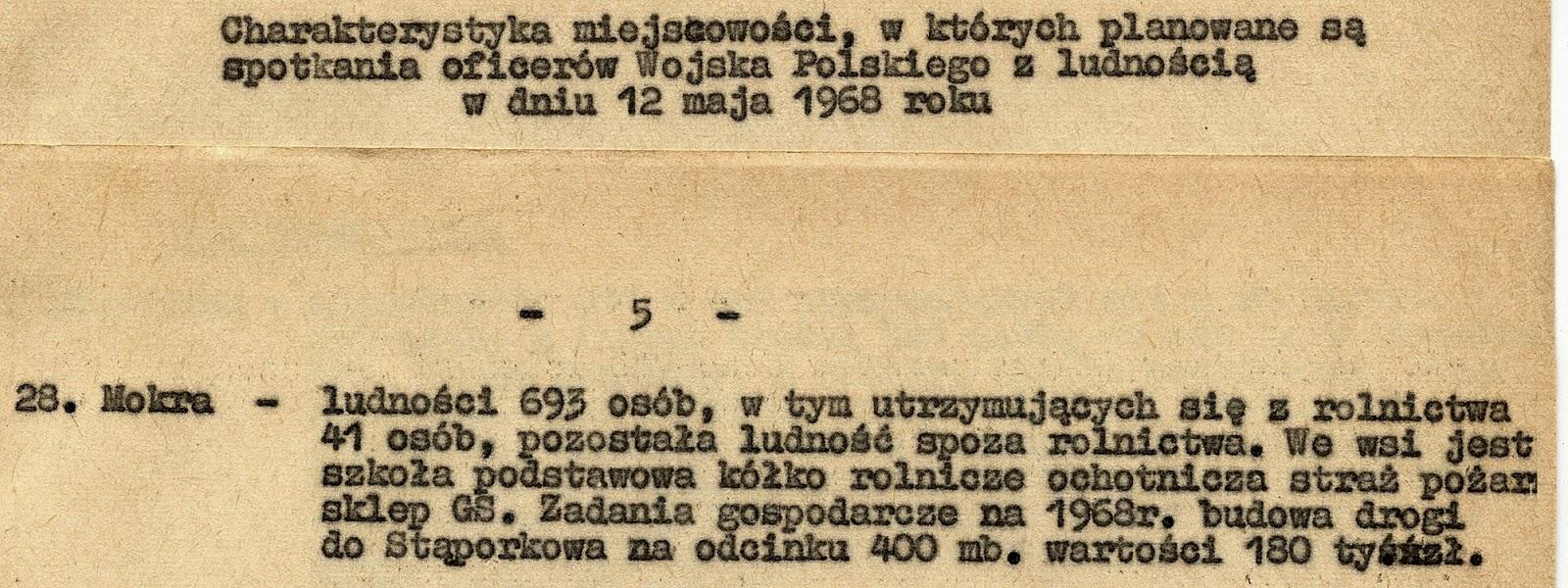Charakterystyka miejscowości, w których planowane są spotkania oficerów Wojska Polskiego z ludnością w dniach 12 maja 1968 r. Dokument w zbiorach KW.