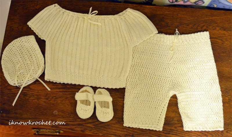 crochet baby boy baptism outfit