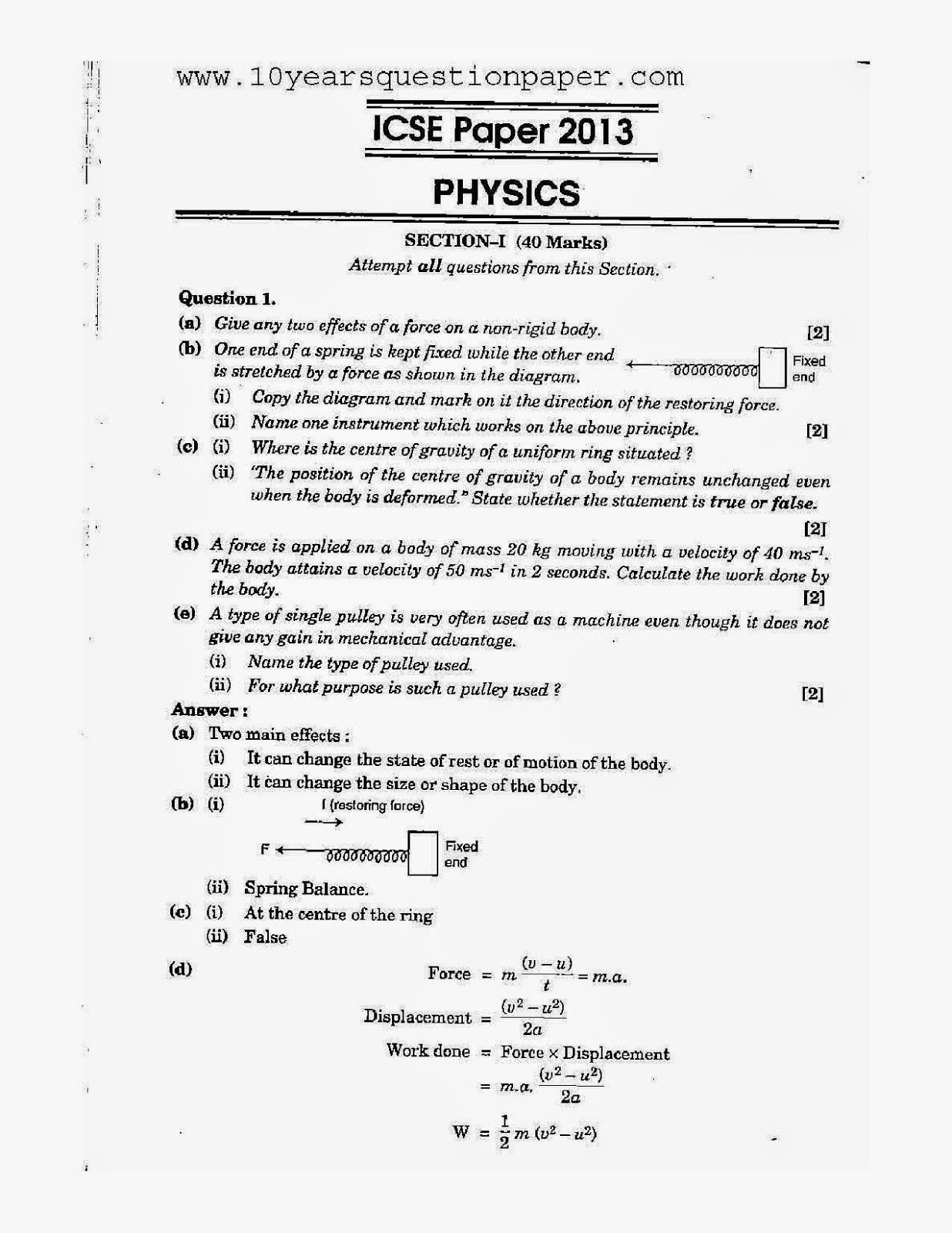 icse physics exam class x solved question paper years icse class 10th physics solved question paper 2013