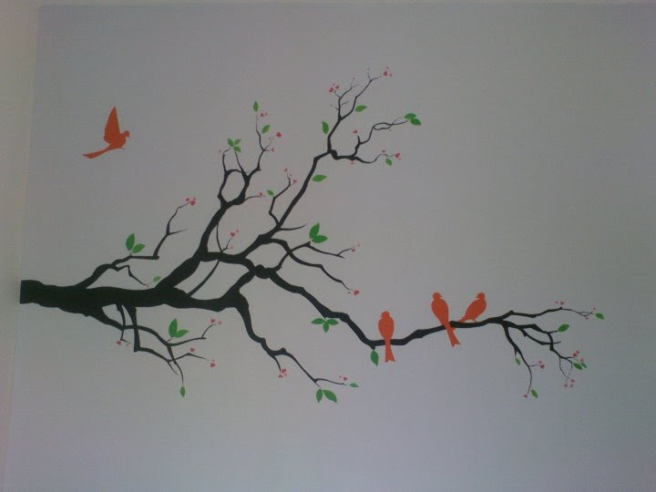 Painting simple mural painting family of bird for Examples of mural painting