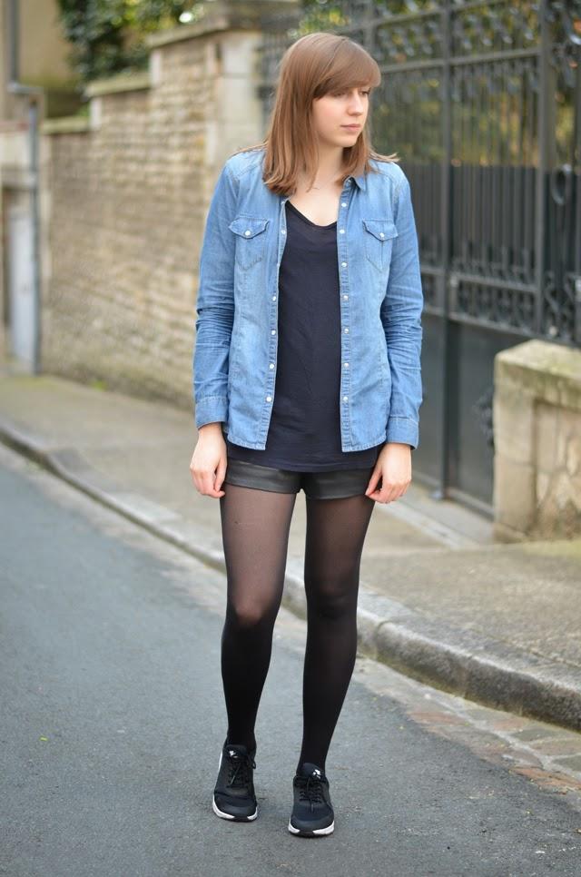 tenue chemise jean short cuir nike air max thea