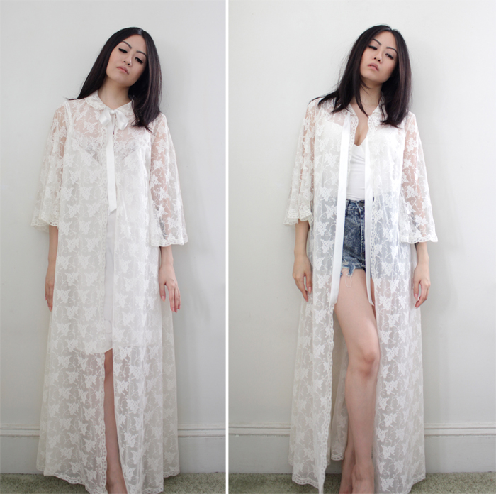 vintage 60s lace duster maxi robe