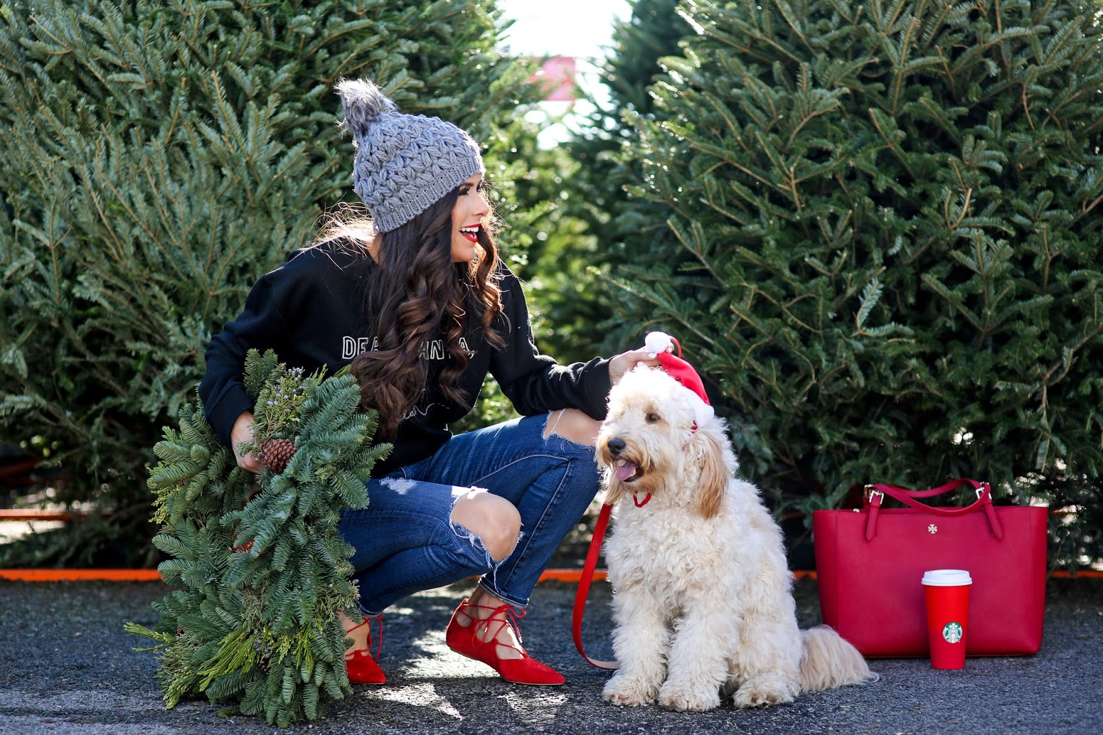 emily gemma blog, the sweetest thing blog, what to wear casual christmas dinner, what to wear during the holidays comfortable, winter fashion ootd pinterest, winter fashion, beanie with pom pom, santa sweatshirts cute, golden doodle f1b, fitz gemma, under the sun tulsa, wreath shopping tulsa, AG jeans on sale, lace up flats topshop, topshop red flats, santa sweatshirt, dear santa i can explain sweatshirt, kate spade stacked rings, christmas photo idea with dog, dog with wreath around neck photo, tory burch york tote in red, tulsa fashion blogger, love always name place necklace cursive, arrow necklace jennifer zeuner, brunette balayage, best curling wand for long layers