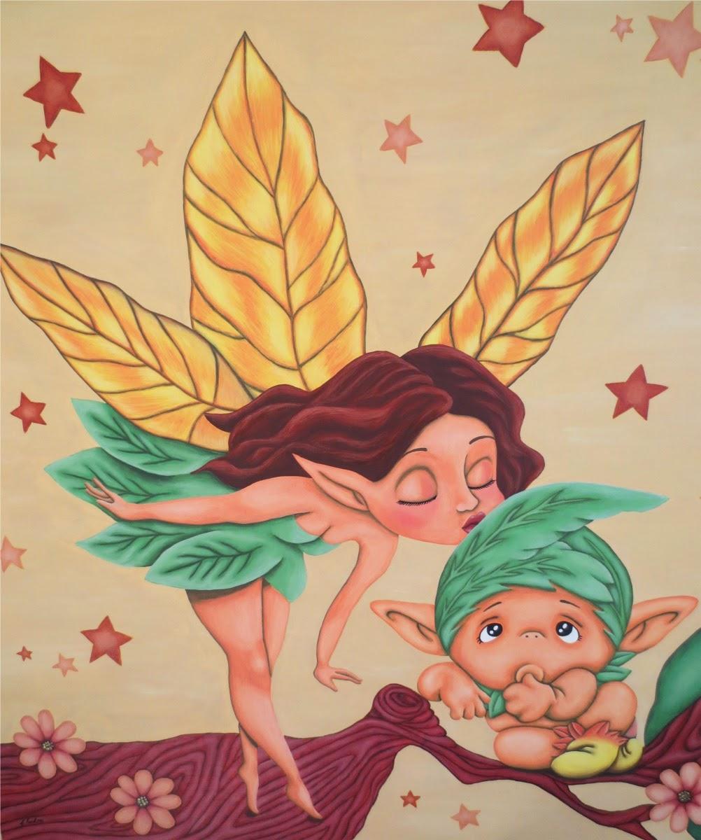 cuadro infantil hada besando duende