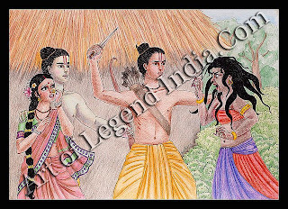 The witch Surpanakha, spurned by Rama and Lakshmana, tries to attack Sita, whereupon Lakshmana uses his arrows to cut off her nose and ears.