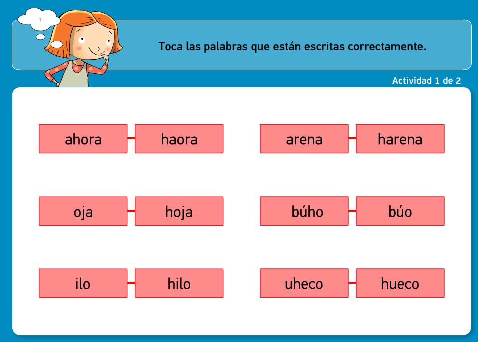 http://www.primerodecarlos.com/TERCERO_PRIMARIA/archivos/actividades_tilde_tercero/8/la_h.swf