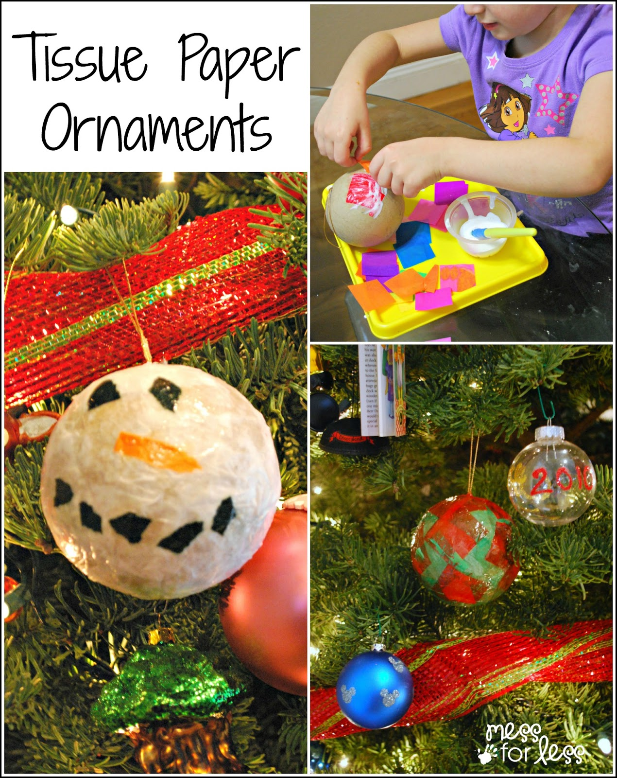 Tissue Paper Ornaments - these handmade Christmas ornaments are fun to make with kids. So many variations are possible!