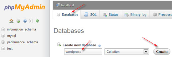 buat database wordpress