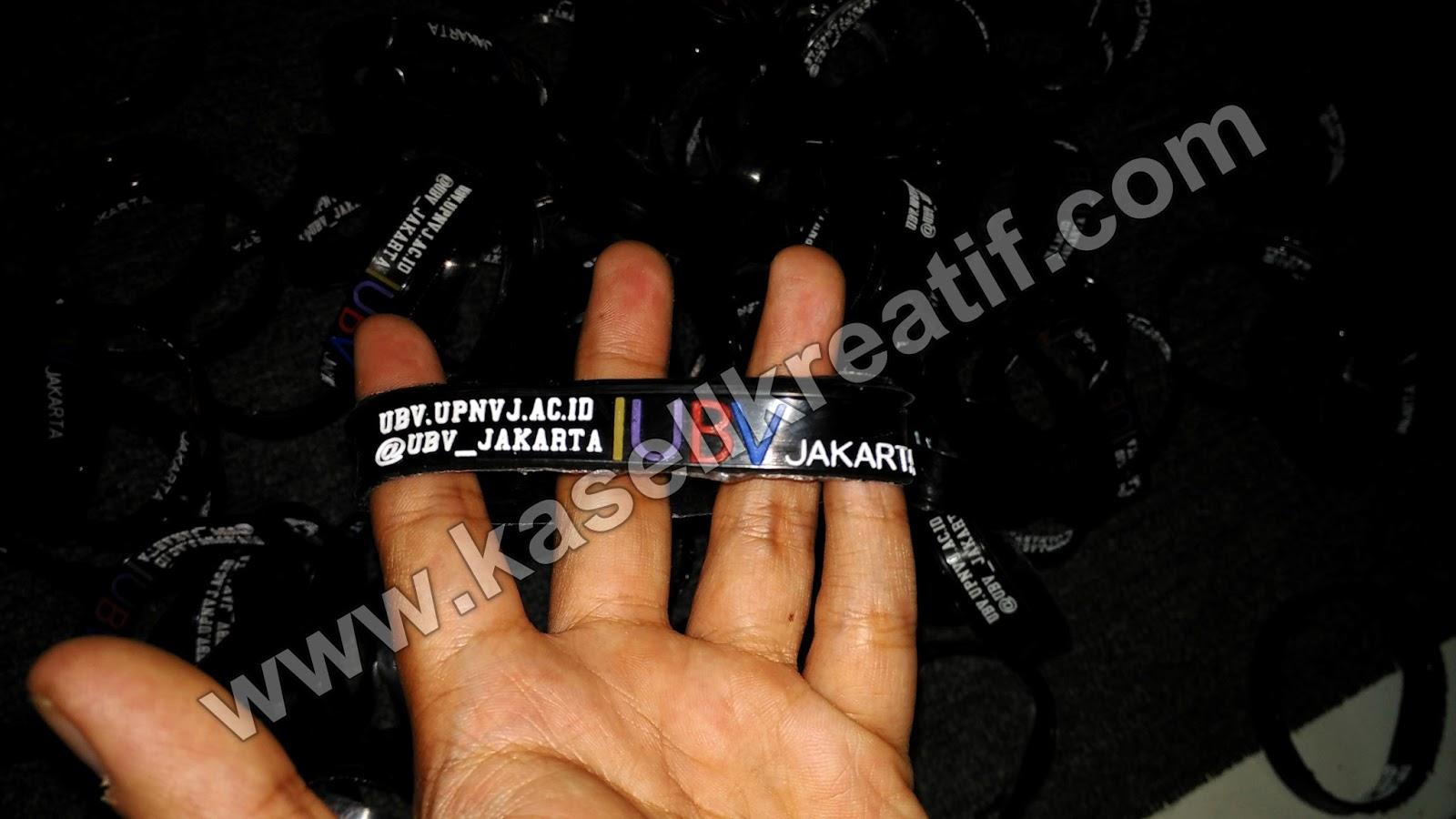 Gelang Karet Rubber Promosi Tulisan Timbul UBV Jakarta 100pcs