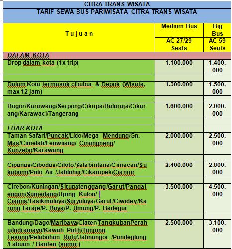 Daftar Harga Bus Pariwisata Harga Sewa Bus Pariwisata