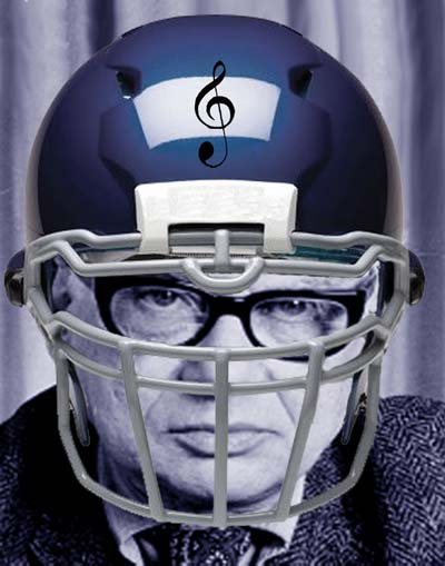 Composer Milton Babbitt in a football helmet
