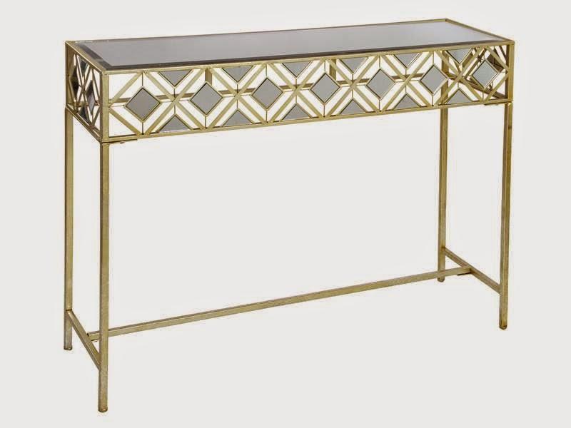 Recibidor metal dorado con cristales de espejo