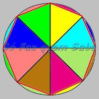 Octógono regular. Circunferência dividida em oito partes iguais.